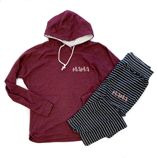 Mama Stripe Maroon Curved Hem Lightweight Hoodie  |  Rose Gold Shimmer Ink  FINAL SALE - NO CODES