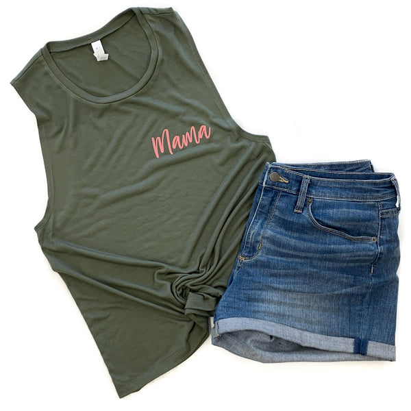 Mama Military Green Flowy Muscle Tank  |  Mauve Ink