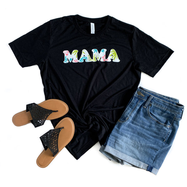 Mama Floral Black Crew Neck Tee  FINAL SALE-NO CODES