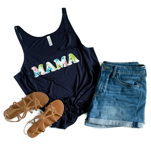 Mama Floral Midnight Navy Slouchy Tank