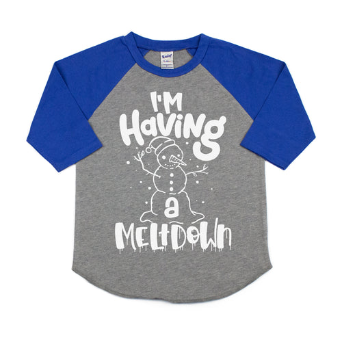I'm Having a Meltdown Kids Raglan  |  White Ink