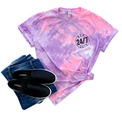 Mom Life 24/7 Cotton Candy Tie Dye Tee  |  Black Ink