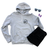 Mom Life 24/7 Light Gray Fleece Hoodie  |  Black Ink