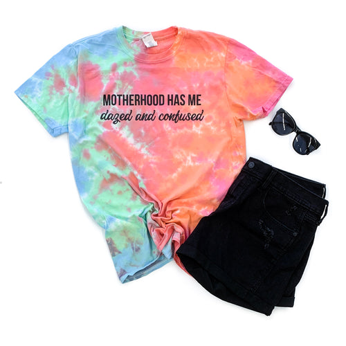 Motherhood Has Me Dazed and Confused Slushie Tie Dye Tee  |  Black Ink