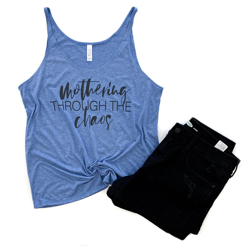 Mothering Through the Chaos Blue Triblend Slouchy Tank  |  Black Ink