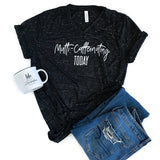 Multi-Caffeinating Today Black Marble V-Neck Tee  |  White Ink