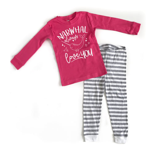 Narwhal Always Love You YOUTH PJ's - White Ink