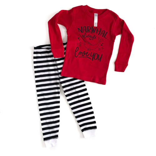 Narwhal Always Love You TODDLER PJ's - Black Ink