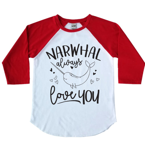 Narwhal Always Love You Raglan - Black Ink