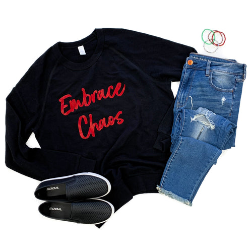 OG Embrace Chaos Black French Terry Pullover  |  Red Glitter Ink  FINAL SALE - NO CODES
