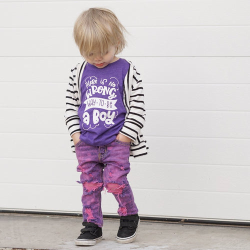 There is no wrong way to be a boy heather purple tee