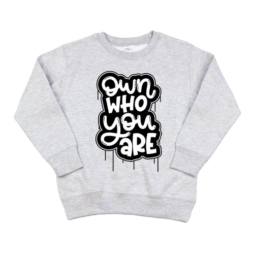 Own Who You Are Gray Fleece Pullover  |  Black & White Ink
