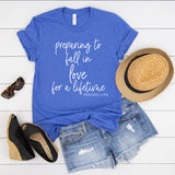 Preparing To Fall In Love For a Lifetime -Preggo Life Heather Blue Tee  |  White Ink