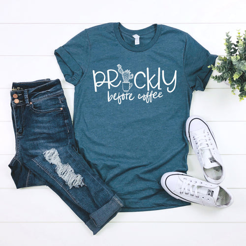Prickly Before Coffee Steel Blue Triblend Tee  |  White Ink