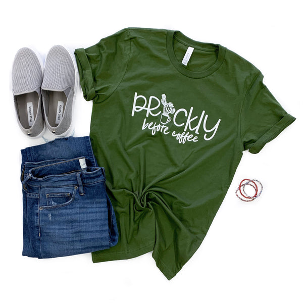 Prickly Before Coffee Olive Crew Neck Tee  |  White Ink