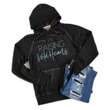 Raising Wild Hearts Black Acid Wash Hoodie - Teal Shimmer Ink