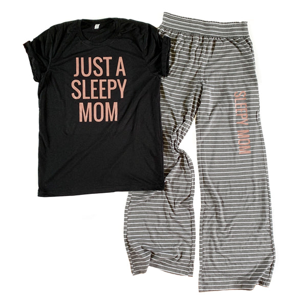 Sleepy Mom Gray/White Lounge Pants  |  Rose Gold Shimmer Ink