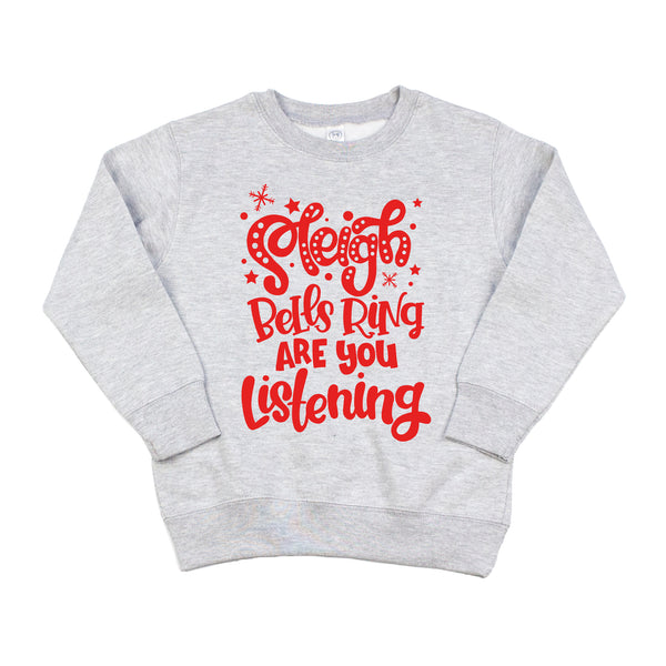 Sleigh Bells Ring Gray Kids Fleece Pullover  |  Red Print