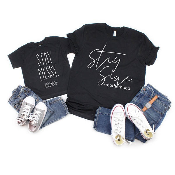 Stay Messy Kids Tee  |  White Ink