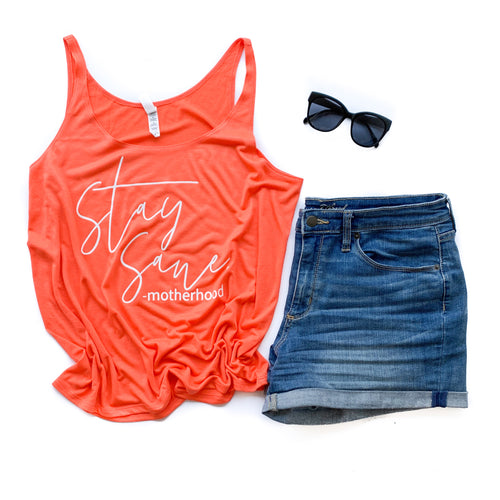 Stay Sane Coral Slouchy Tank  |  White Ink