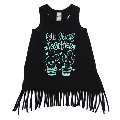 Let's Stick Together Black Fringe Dress  |  Tranquil Blue Ink
