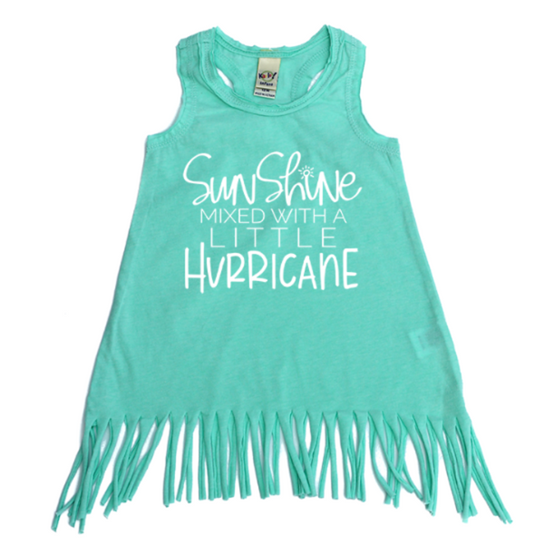 Sunshine Mixed With a Little Hurricane mint fringe dress