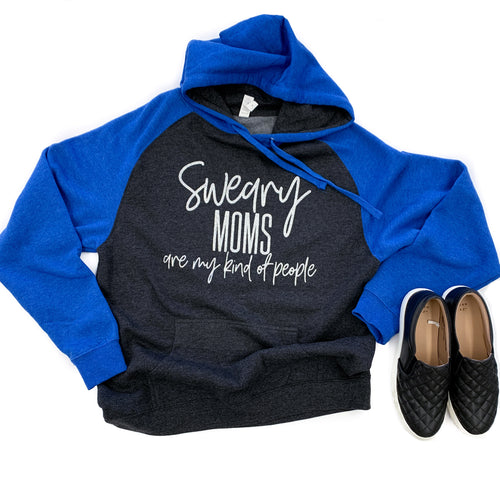 Sweary Moms Are My Kind of People Charcoal/Blue Hoodie  |  Silver Glitter Ink  FINAL SALE - NO CODES