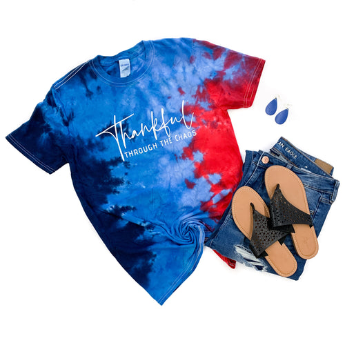 Thankful Through the Chaos USA Tie Dye Tee  |  White Ink