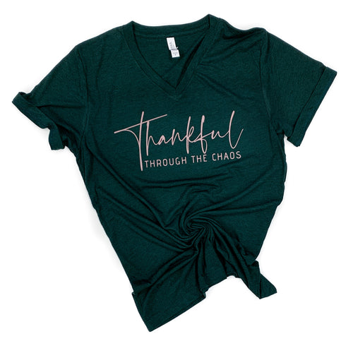 Thankful Through the Chaos Emerald Triblend V-Neck Tee  |  Rose Gold Shimmer Ink  FINAL SALE-NO CODES