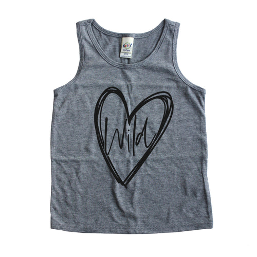 Wild at heart gray kids tank