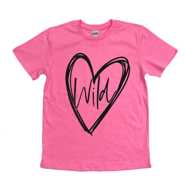 Wild at heart pink flash kids tee