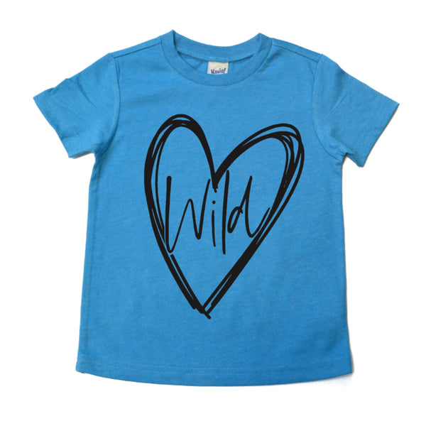 Wild at heart heather turquoise kids tee