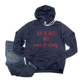 Deck the Halls Navy Fleece Hoodie  |  Red Shimmer Ink