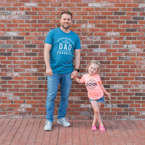 Dad is My Favorite Heather Deep Teal Tee  |  White Ink