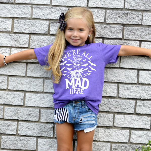 We're All Mad Here Heather Purple Kids Tee  |  White Ink