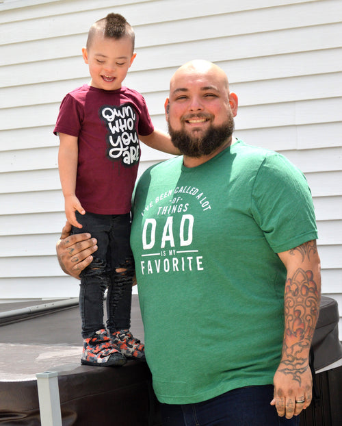 Dad is My Favorite Heather Green Tee  |  White Ink