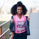Stand Up for Others Neon Pink V-Neck Tee