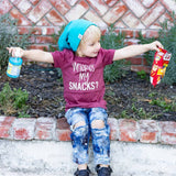 where's my snacks heather maroon tee
