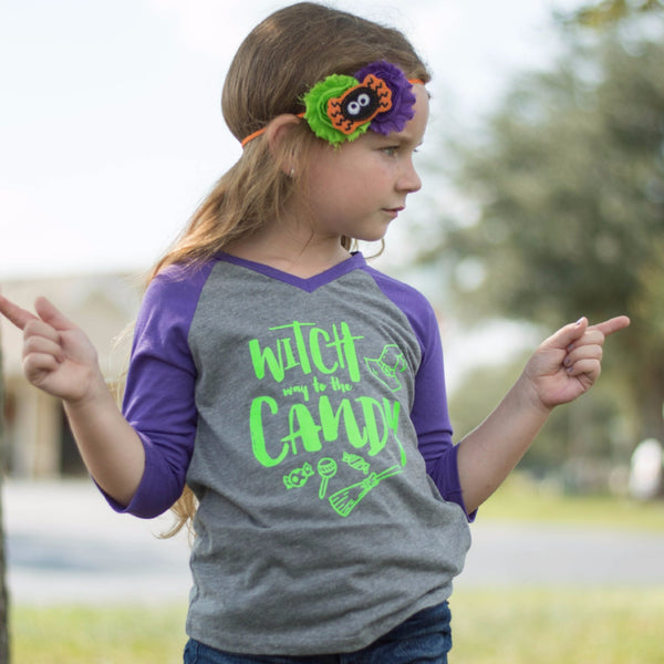 witch way to the candy purple v-neck raglan