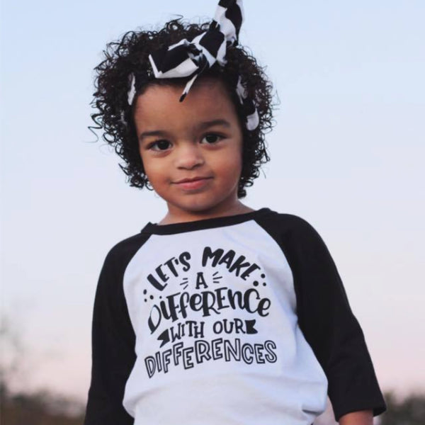 Let's Make a Difference With Our Differences Raglan - Black Ink