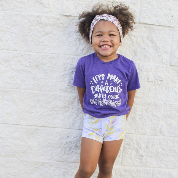 Let's make a difference with our differences heather purple kids tee