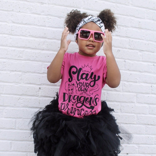 Slay your own dragons princess heather hot pink kids tee