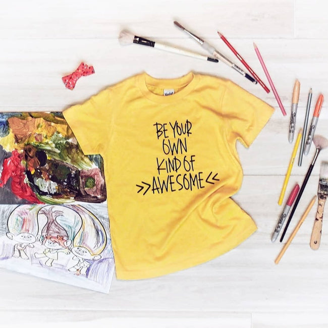 Be your own kind of awesome yellow kids tee