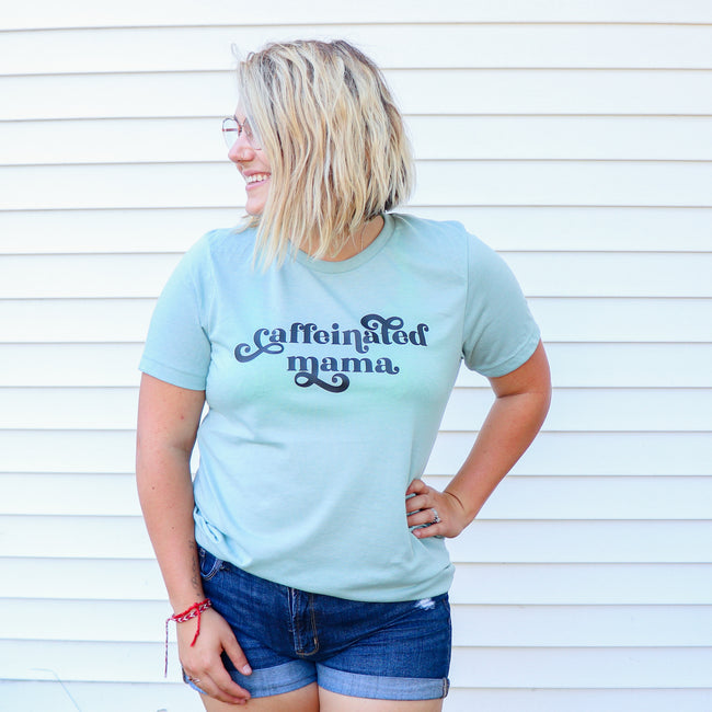 Caffeinated Mama Heather Dusty Blue Tee  |  Black Ink
