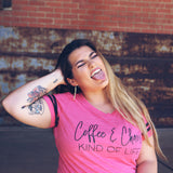 Coffee & Chaos Kind of Life Hot Pink Varsity Tee  |  Black Ink