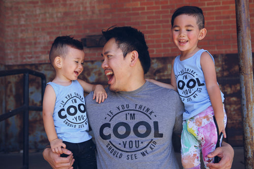 If You Think I'm Cool You Should See My Dad Blue Kids Tank  |  Black Ink
