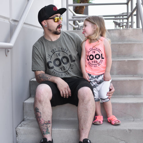 If You Think I'm Cool You Should See My Dad Coral Kids Tank  |  Black Ink
