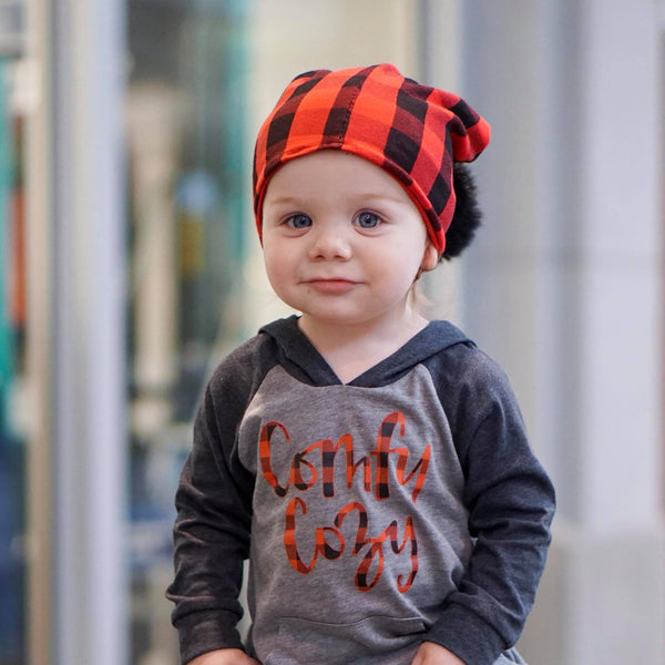 Comfy cozy buffalo plaid charcoal kids raglan hoodie