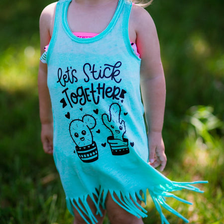 Sunshine Mixed With a Little Hurricane Fringe Dress  |  White Ink