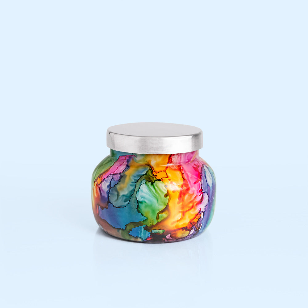 Volcano Rainbow Watercolor Candle